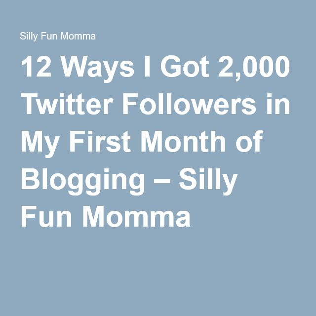 12 Ways I Got 2,000 Twitter Followers in My First Month of Blogging – Silly Fun Momma