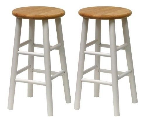 White Bar Stools Wooden Counter Chairs Set Of 2 Natural Wood Seats