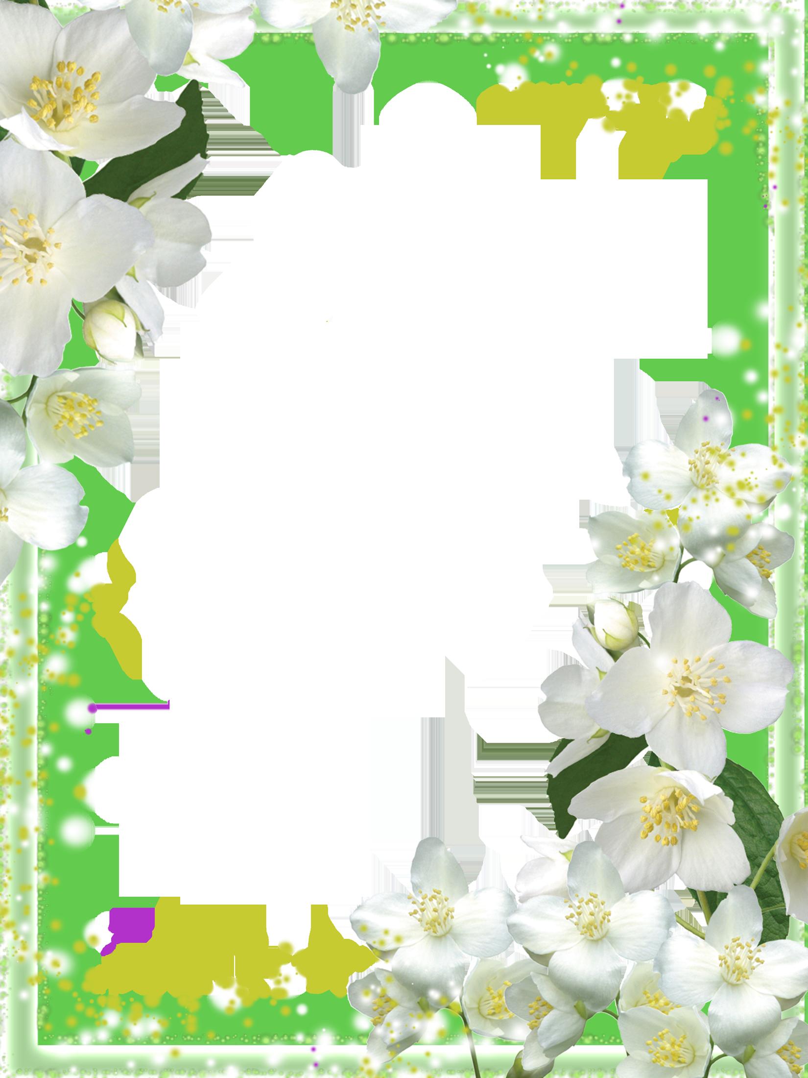 Transparent Green Flowers Frame Kartlar, Çiçek