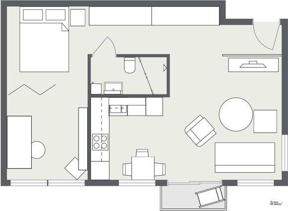 Wohnideen Raumaufteilung roomsketcher wohnidee kleine wohnung einrichten 2d grundriss