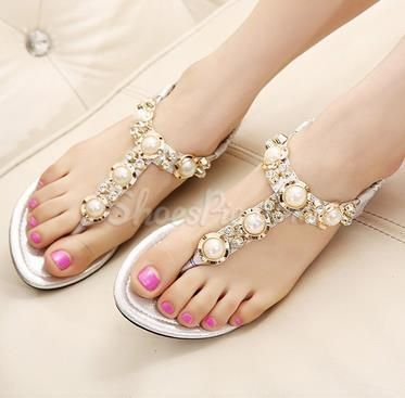 Charming Beading Rhinestone Clip Toe Flat Sandals From The Plus Size Fashion Community At www.VintageAndCandy.com