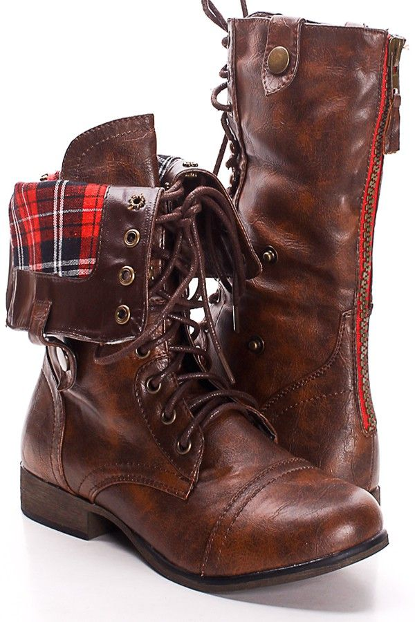 SOLID BROWN FAUX LEATHER LACE UP FOLD OVER COMBAT BOOTS,Women's ...