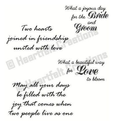 Heartfelt Creations Stamps Wedding Sentiments Precut Set Wedding Card Verses Card Sayings Wedding Cards Handmade