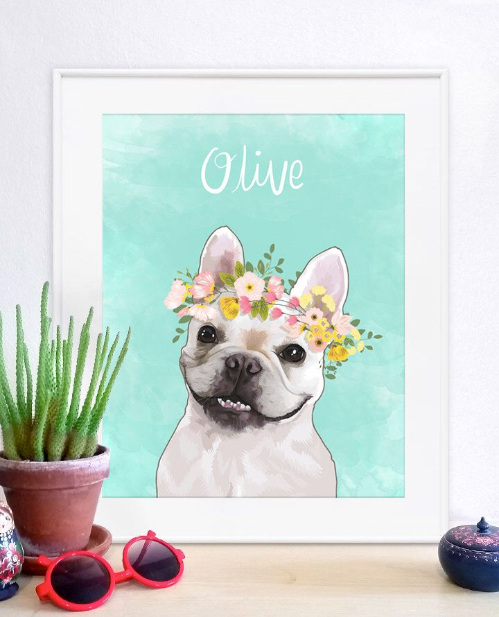 Flower Crown Pet Portrait, Pet Portrait, Custom Pet Portrait ...