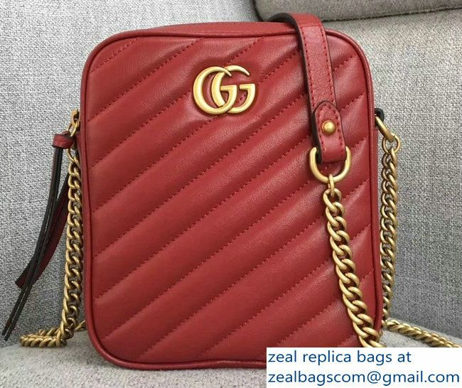 73a9deb60267 Gucci GG Marmont MatelasseRectangular Shape Mini Chain Shoulder Bag 550155  Red 2018