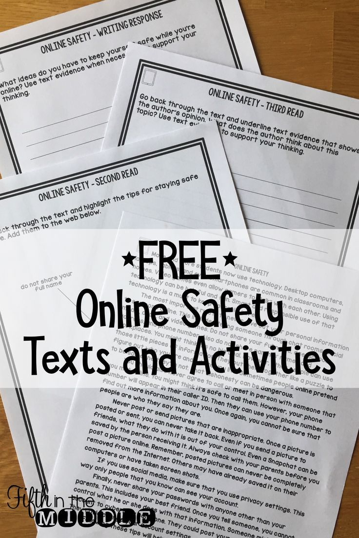 FREE Online Safety Differentiated Reading Comprehension Passage and ...