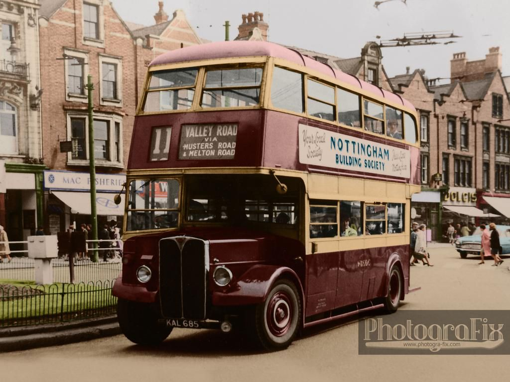 West Bridgford Urban District Council Bus On Carrington Street Nottingham 1960s Colourised