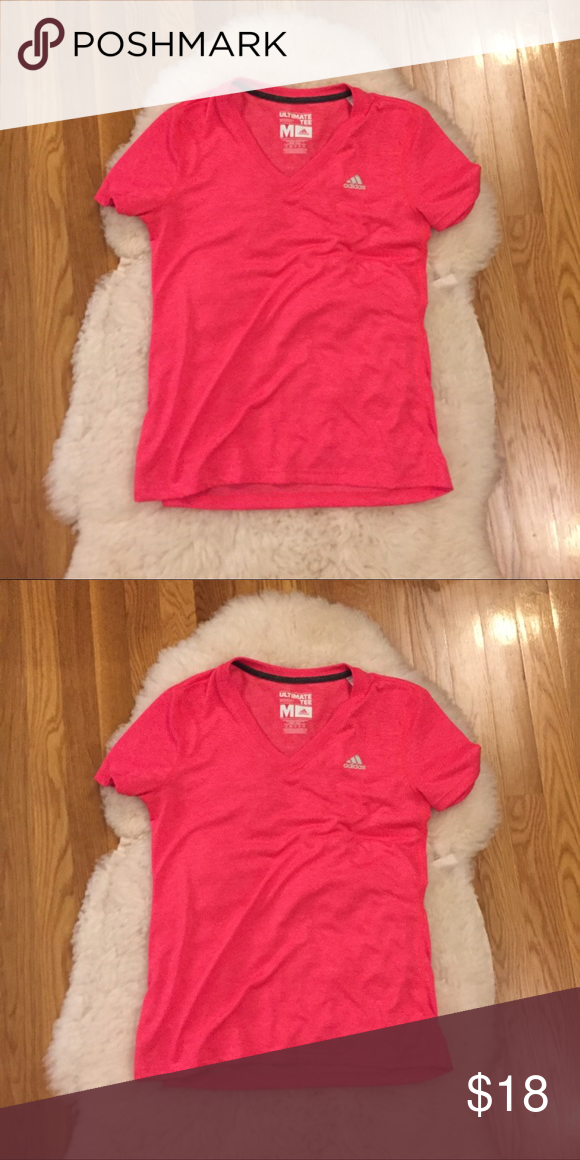 new concept aa17e 81c57 ADIDAS PINK ULTIMATE TEE worn once   hot pink   good condition, no signs of  wear   comfy and soft   bundle for discount adidas Tops Tees - Short Sleeve