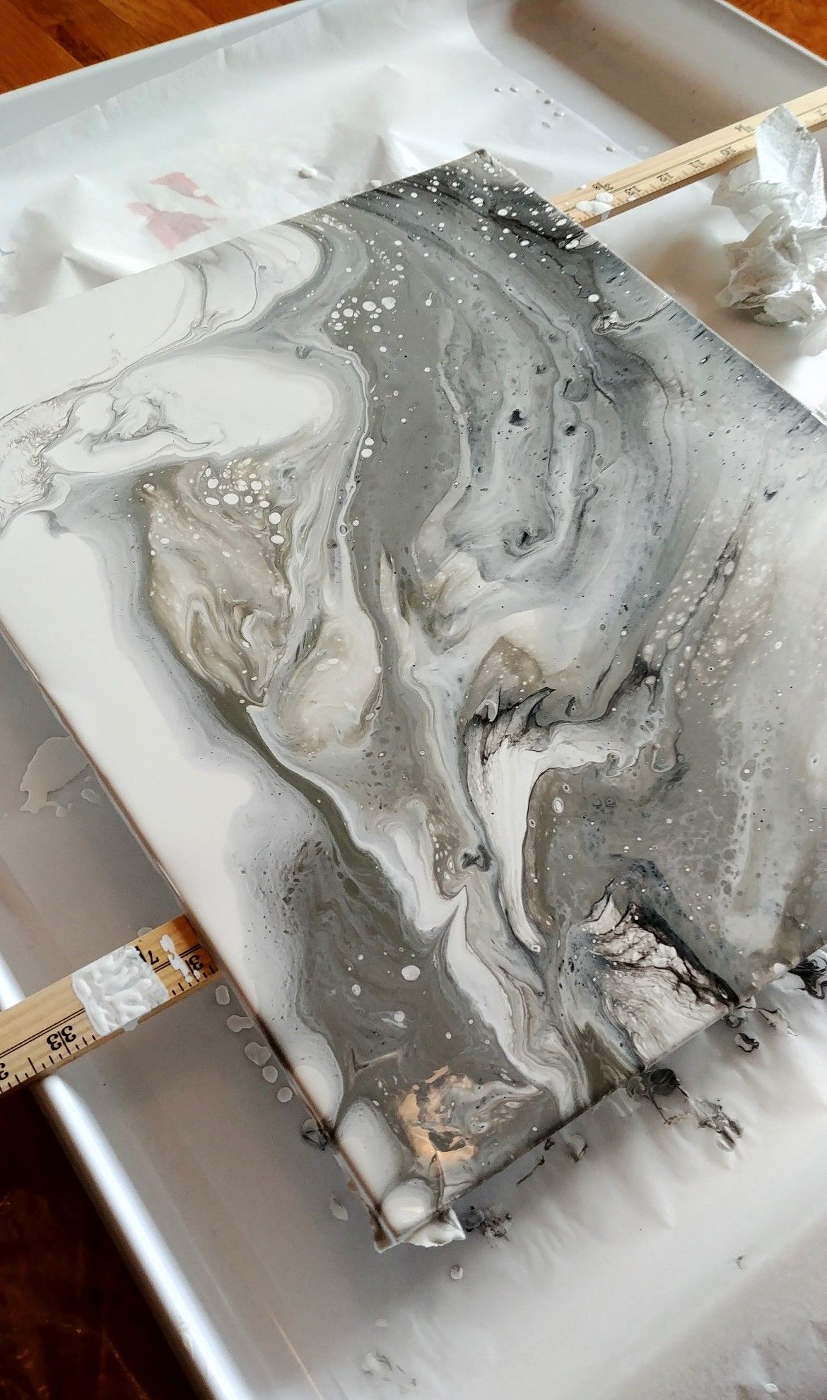 Gray Marble Acrylic Pour