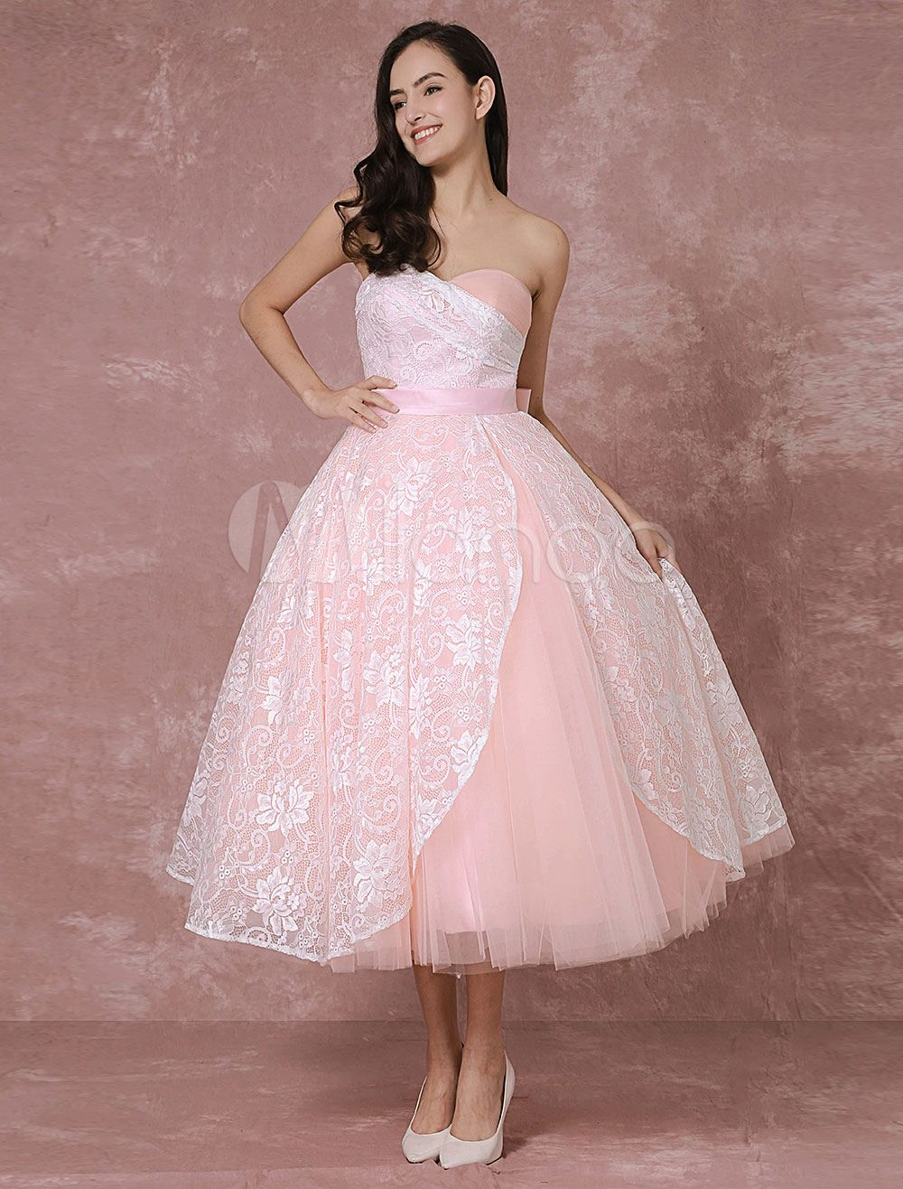 Blush wedding dress short lace bridal gown pink ball gown