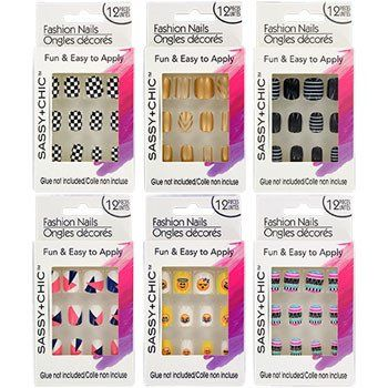 Sassy Chic Glue On Artificial Fashion Nails 12 Pc Set 6 Sets Fake Nails For Kids Fashion Nails Nails For Kids
