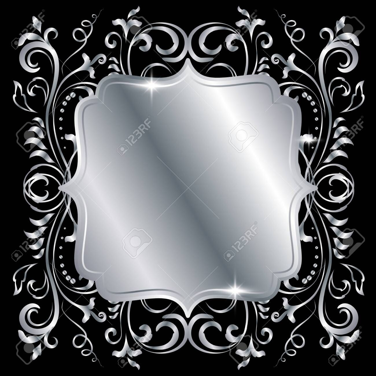 Silver Shiny Glowing Ornate Square Frame Isolated Over Black Metal Luxury Elegant Blank Border Vector Backgroun Square Frames Vector Design Vector Background
