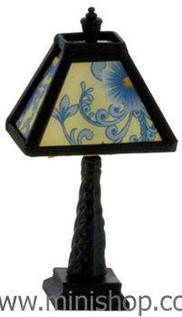 Lamp Dark Bronze Dollhouse Miniature Light 12 Volt One Inch Scale Lamp Black Table Lamps Table Lamp