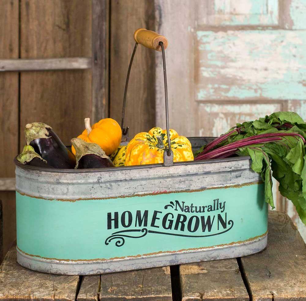 rustic farmhouse homegrown galvanized garden trug with handle