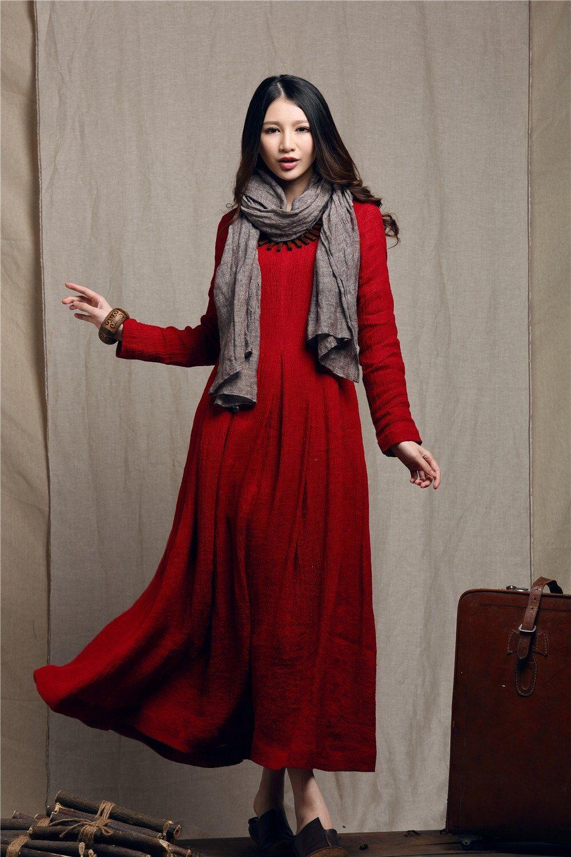 Maxi dress red dress linen dress winter dress long linen
