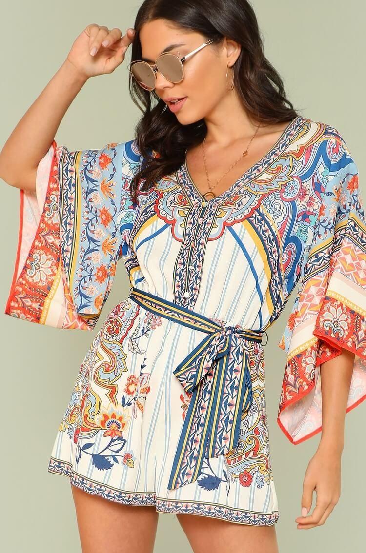 b9a4365570 Bohemian Tribal Print Kimono Sleeve Romper. Women fashion. Bohemian summer  dresses. Boho dresses