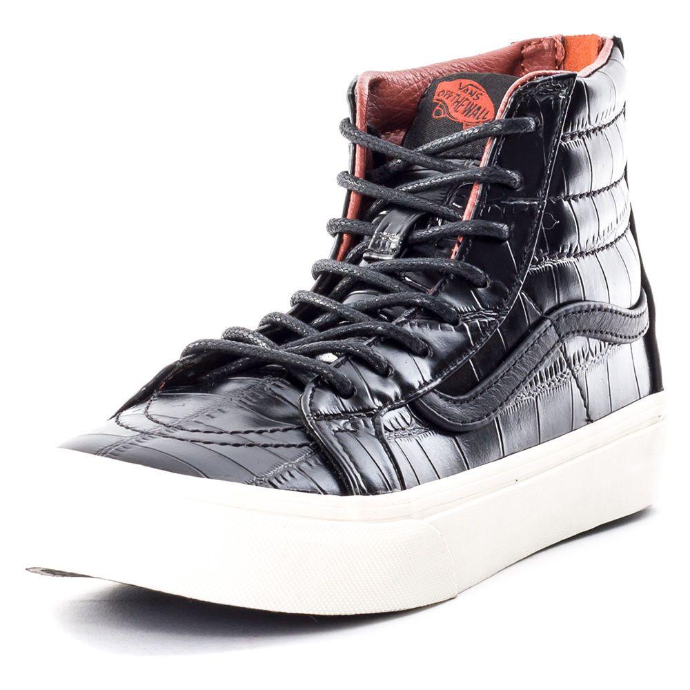 380ce00e945f3a Vans Sk8 Hi Slim Zip Croc Lea Black Mens Trainers Black New Shoes