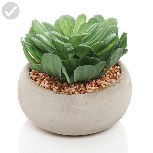 life like green artificial succulent plant in round modern gray ceramic decorative planter pot - Decorative Planters