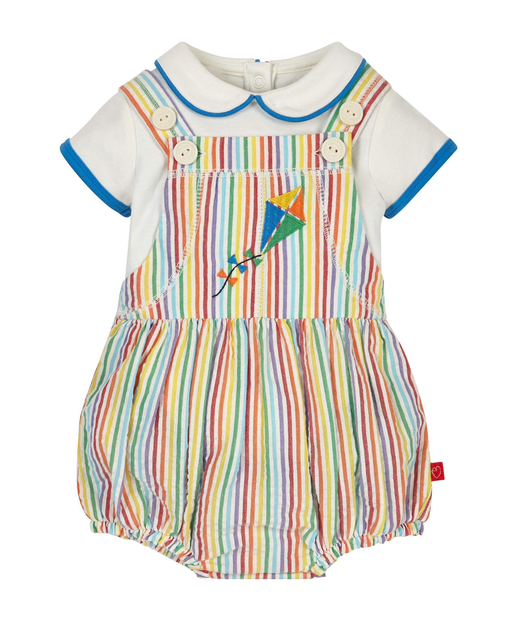 3dfbc279bad4 Little Bird by Jools Striped Dungaree and Bodysuit Set   knit wear ...