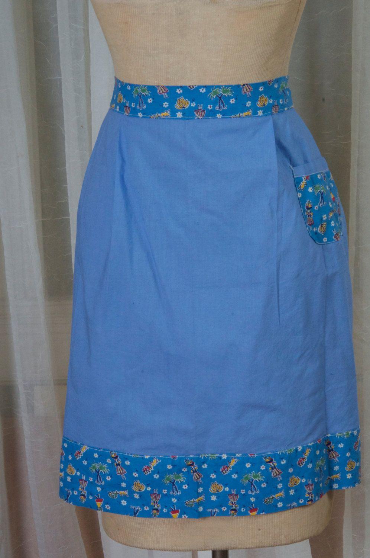 Denim blue apron, w/ floral accents. Kitchen, cookout, hostess ...