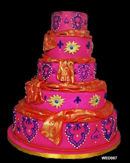 5 tiered pink indian style wedding cake