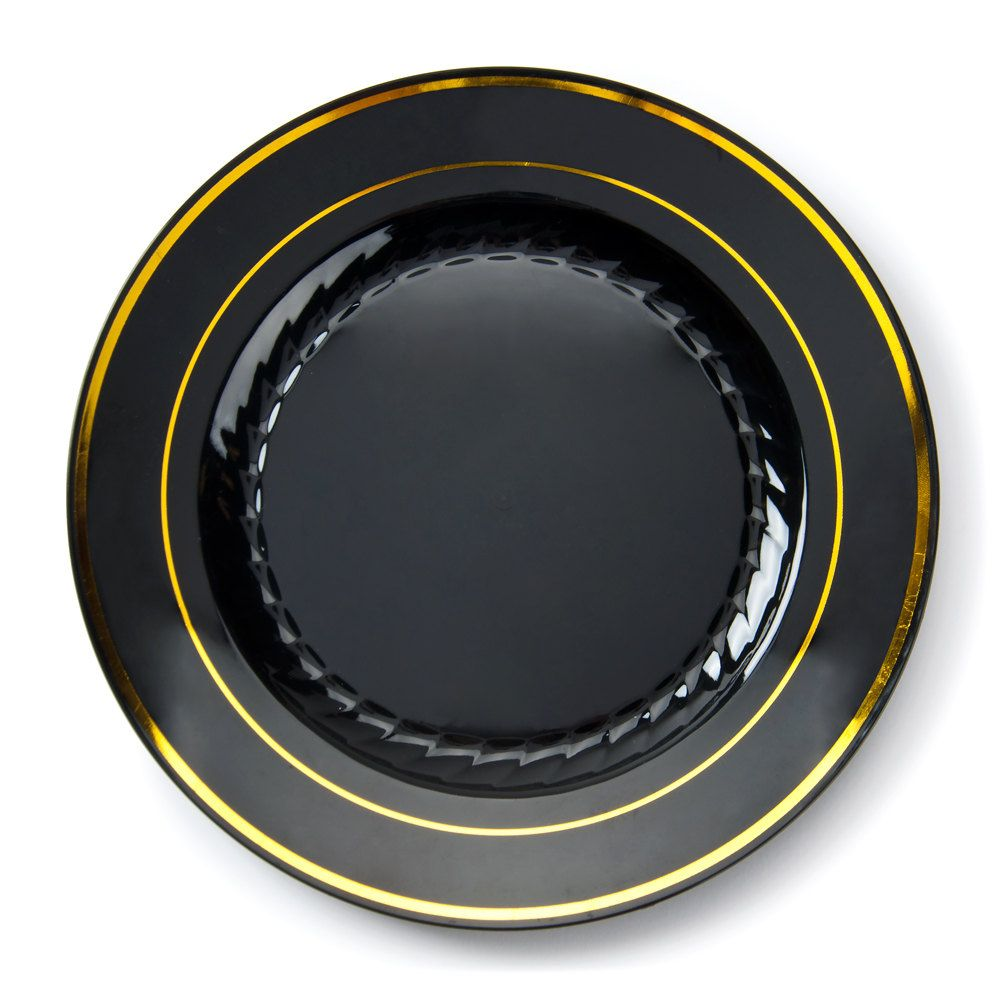 Fineline Silver Splendor 509-BKG 9\  Black Customizable Plastic Plate with Gold Bands - 120/Case  sc 1 st  Pinterest & Fineline Silver Splendor 509-BKG 9\