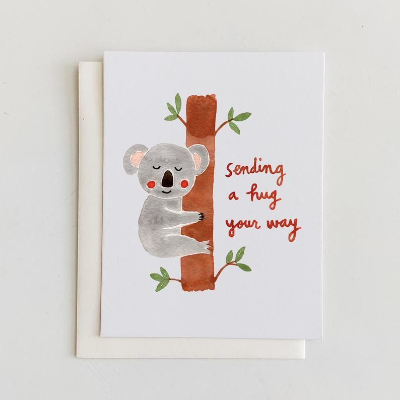 Sending A Hug Your Way Koala Encouragement Greeting Card Etsy In 2021 Sending Hugs Watercolor Greeting Cards Greeting Cards Handmade