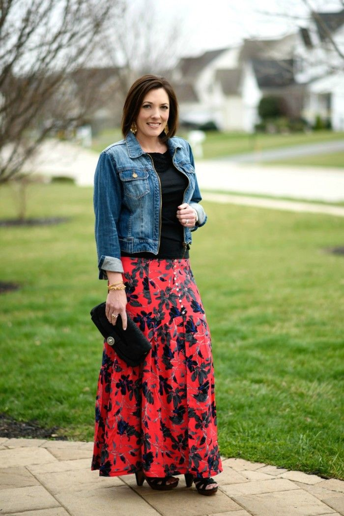 Boho Chic: Pimento Red Floral Maxi Skirt | Tees, Chic and Jackets