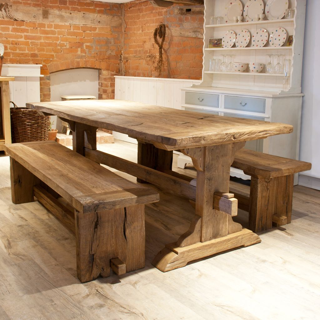 A Gorgeous 7 Harvest Table And Bench Made From Reclaimed Barn Wood Want Want Want Rustieke Eettafel Thuis Rustieke Keukens
