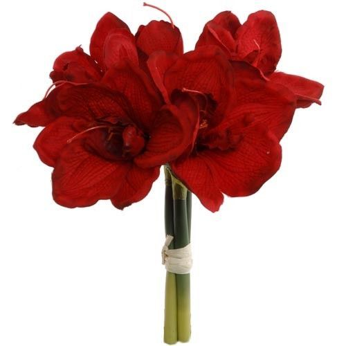 Amaryllis Silk Flower Bundle In Red 12 5 Tall Silk Wedding Bouquets Red Wedding Flowers Silk Flowers