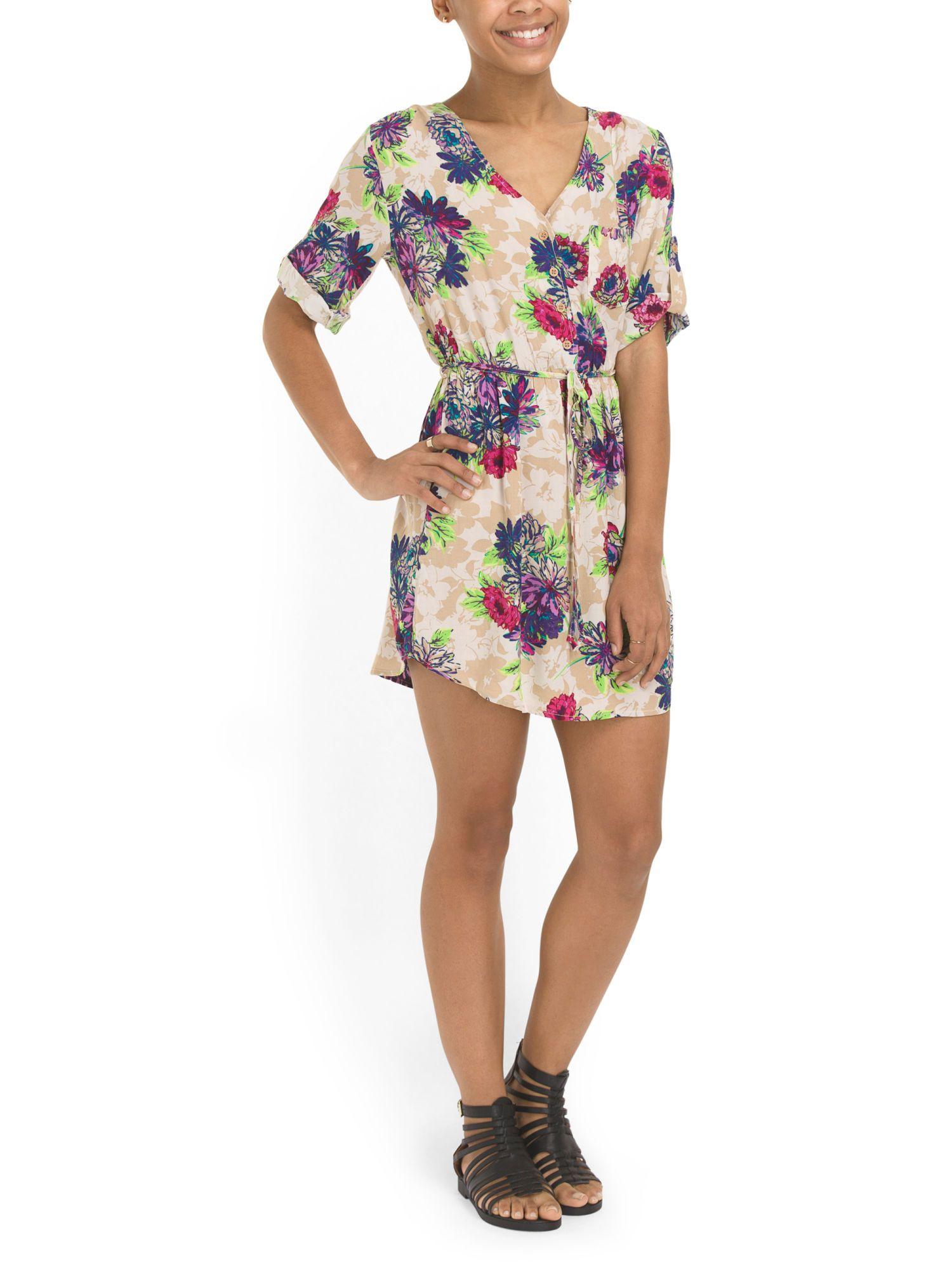 Mimi Chica - Floral Roll Tab Shirt Dress