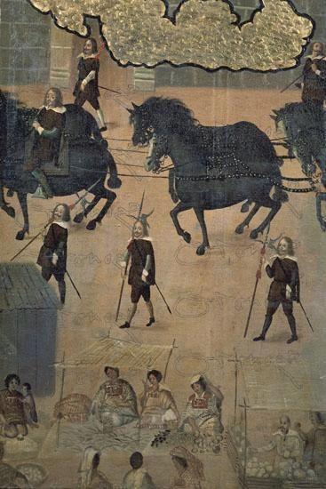 Détail d'un paravant probablement réalisé par un artiste japonais catholique en exil au Mexique après les persécutions orchestrées par les Tokugawa (vers 1635, musée des Amériques, Madrid)