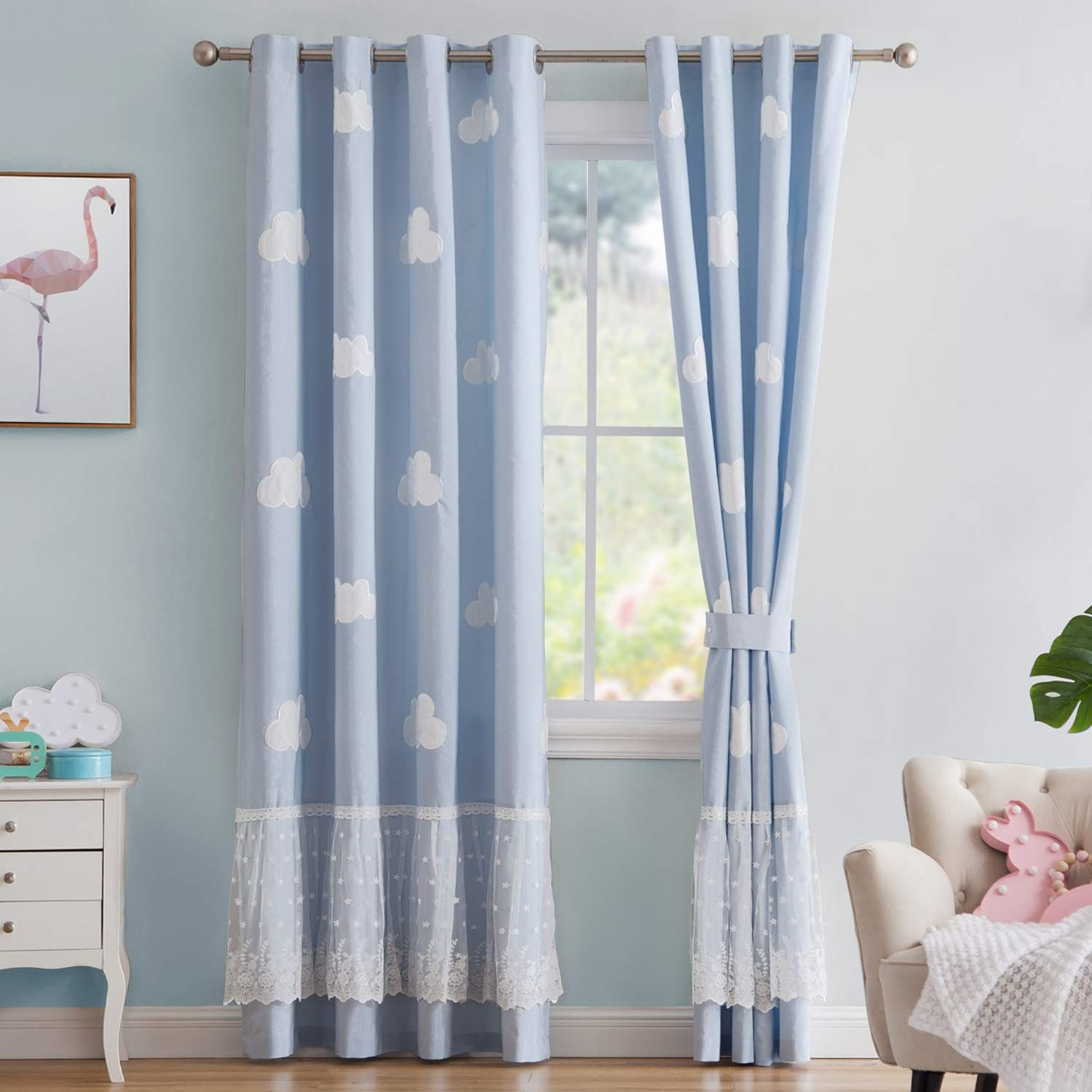 Vandesun Cloud Curtain Panel With Grommet Top For Kids Room Nursery Room Blue Sky With White Clouds 2 Panels In 2020 Blue Curtains Baby Room Curtains Panel Curtains
