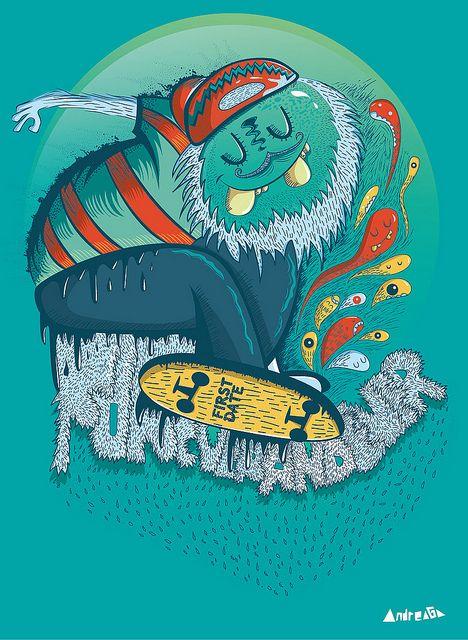 Monster Skate!  Mostritos!-Andreaga  Nueva Ilustración: Monster Skate!  New illustration: Monster Skate!  Este miércoles subiré el proceso de esta ilustración en mi canal de Youtube! Espero les guste!  This Wednesday I'll be uploading a video( illustration process-Monster Skate) I hope you like it!    Monster and Mostritos!    Andreaga  www.facebook.com/andreagailustraciones