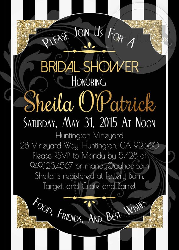 great gatsby bridal shower invitation roaring 20s gold glitter black and