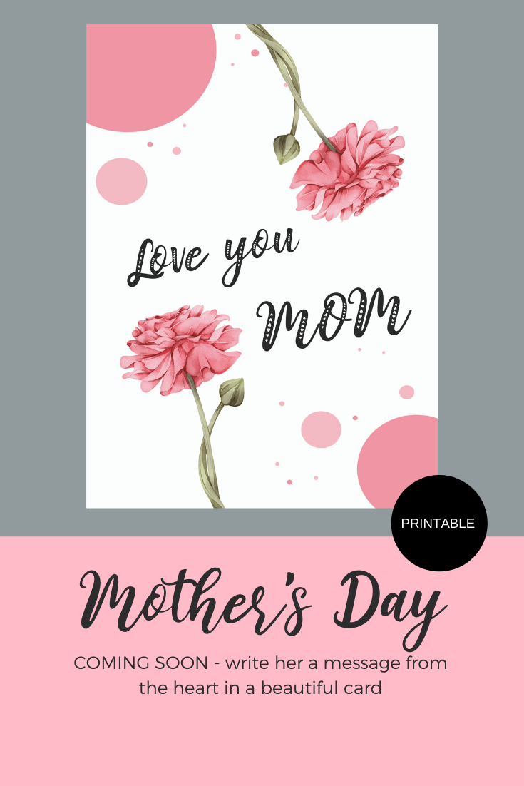 Printable Love You Mom Greeting Card Instant Download Etsy Love You Mom Mom Cards Cards