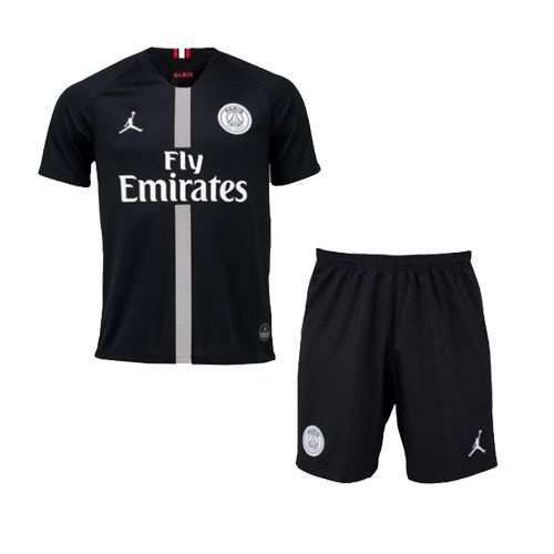 da5f6d2d0 18-19 PSG JORDAN 3rd Away Black Soccer Whole Jersey Kit(Shirt+Short+ ...
