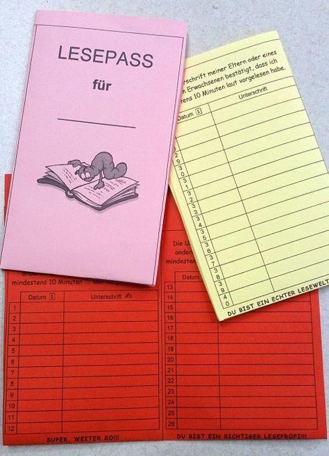 Im Lesepass notieren die Kinder, wenn sie zu Hause gelesen haben ...