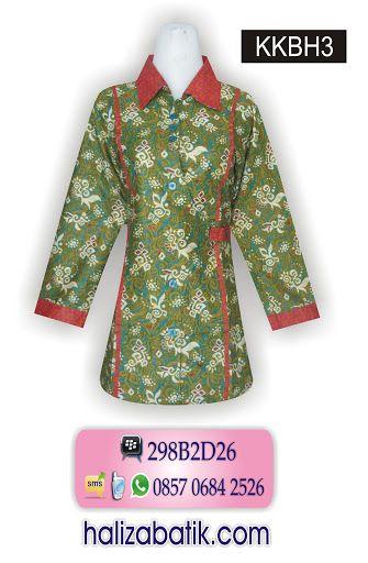Baju batik wanita. Blus terbaru bahan katun. Blus lengan panjang berkerah.  Terdapat tali di pinggang yang bisa diatur. 9d528213ba