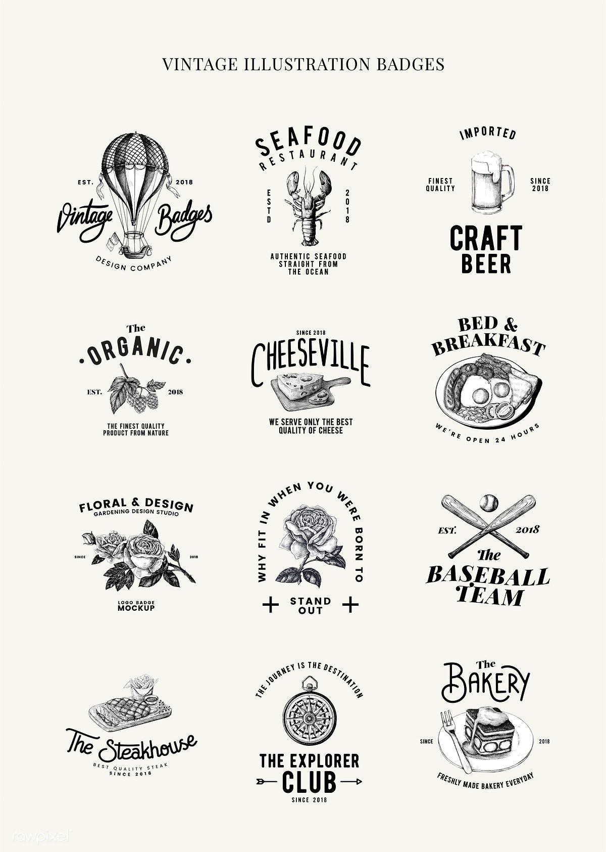 Download Premium Vector Of Set Of Food Logo Design Vectors 463650 Food Logo Design Logo Restaurant Vintage Logo Design