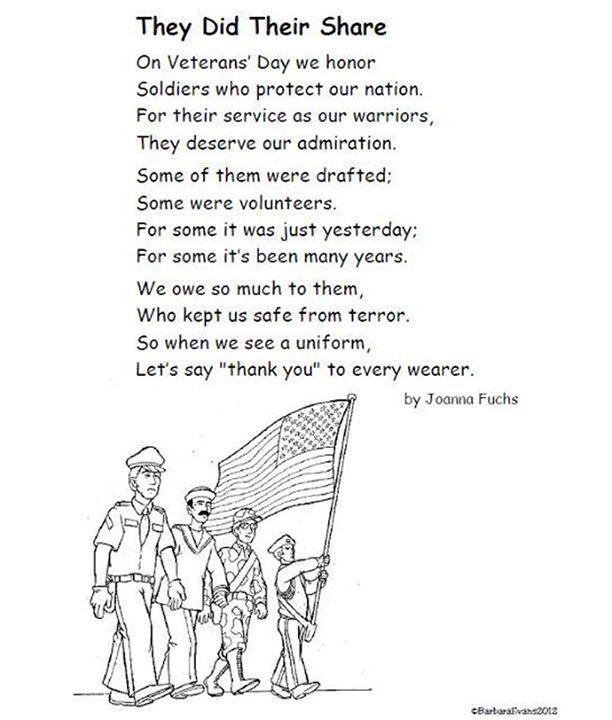 Veterans Day Poem, Veterans Day Activities