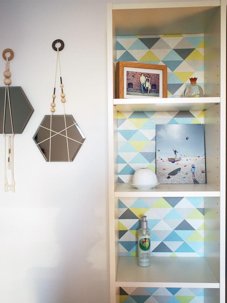 relooker un meuble diy papier peint billy ikea design pinterest creative labs. Black Bedroom Furniture Sets. Home Design Ideas