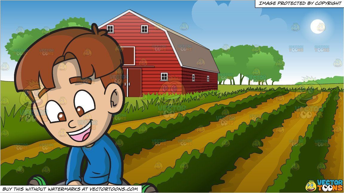 A Happy Boy Playing An App On His Mobile Tablet And Farm Field And Barn Background Boys Playing Happy Boy Red Barn