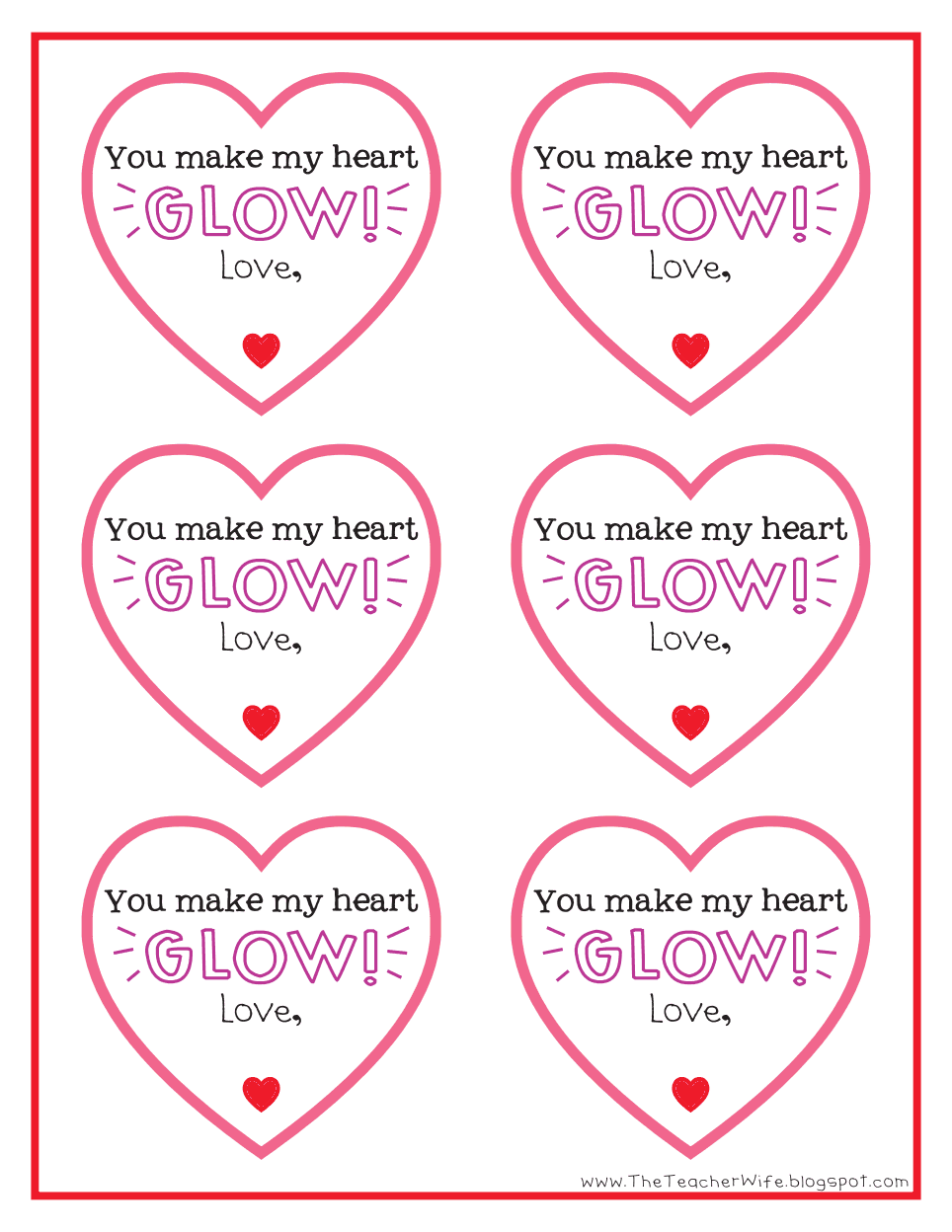 Vibrant image within you make my heart glow printable