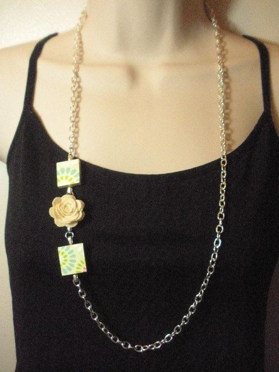 Recycled scrabble tile and cream felt rose chain by madebymandy35, $20.00