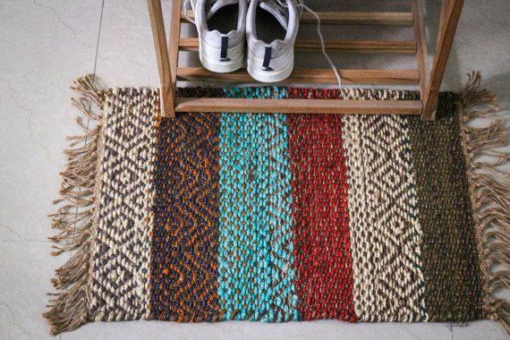 Handmade Jute Hemp Rug Multicolor Dhurie Dhurrie Small