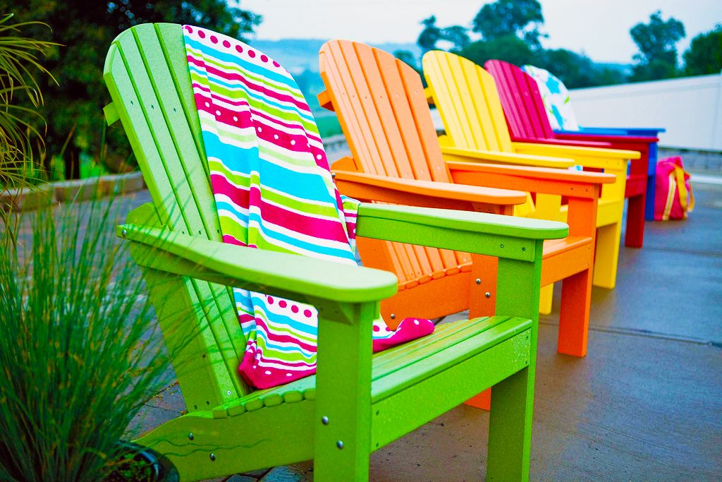 Colored Furniture adirondack row bright colors | outdoor decor | pinterest | bright