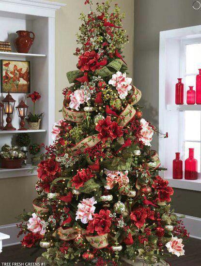Arbol navidad decorado con flores Navidad Pinterest rbol
