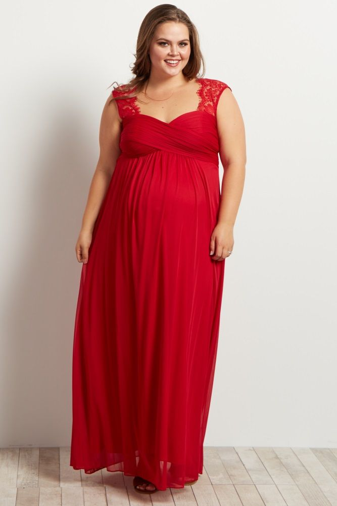 63d932678941b Red Lace Accent Chiffon Maternity Plus Evening Gown in 2019 ...