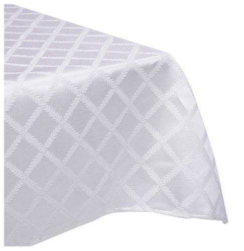 [70 x 144 lenox laurel leaf white tablecloth by bardwil